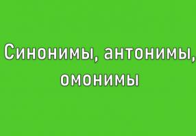 Урок 2: Синонимы, антонимы, омонимы